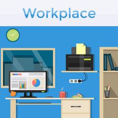 Workplace, bright interior