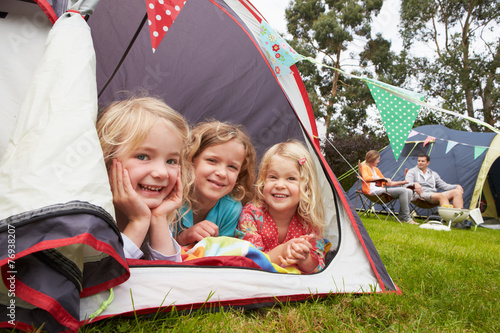 Papiers peints Camping Family Enjoying Camping Holiday On Campsite