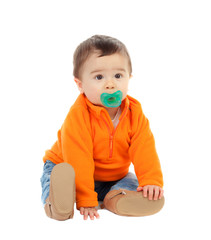 Adorable six month baby with orange jersey