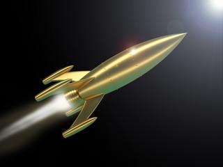 Rakete Weltraum Gold