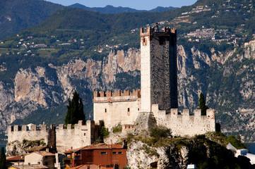 Castle at Malcesine on Lake Garda in the Italian Lakes in Italy