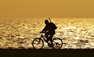 People, Sunset, Bicycle