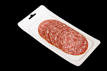 vacuum-packed sliced salami