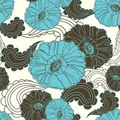 Vector floral seamless blue poppy flower