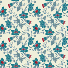 Vector vintage floral seamless blue flower