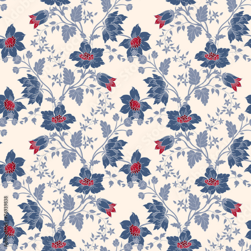 Fototapeta Vector vintage floral seamless blue flower