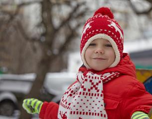 boy in winter park