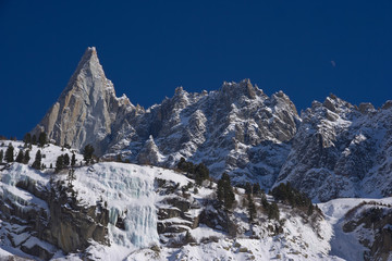 """""""aiguille du dru"""" famous  peack of europen alps"""