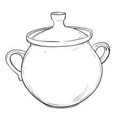 Vector sketch of doodle pot