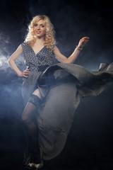 sensual woman in long black dress