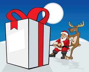 Santa Claus pulling big gift