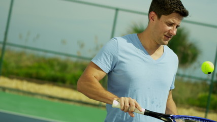 Caucasian Male Sports Clothing Enjoying Healthy Tennis Lifestyle
