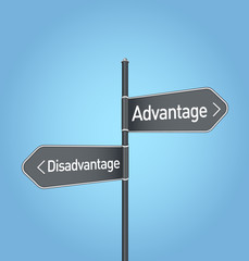 Advantage vs disadvantage choice road sign on blue background
