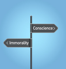 Conscience vs immorality choice road sign