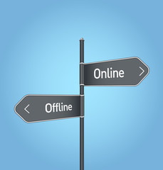 Online vs offline choice road sign on blue background