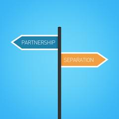 Partnership vs separation choice road sign