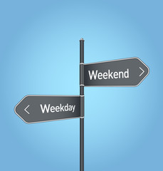Weekend vs weekday choice road sign on blue background