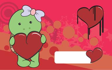 cute turtle girl cartoon valentine backgorund