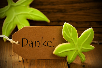 Brown Organic Label With German Text Danke