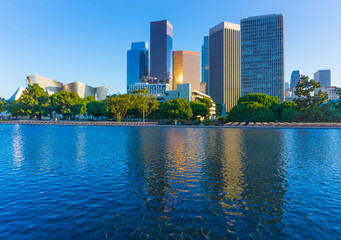 Downtown skyscrapers  with pond of Los Angeles skyline, CA (P)