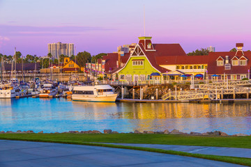 Rainbow Harbor with Shoreline Village, Long Beach , CA  (P)