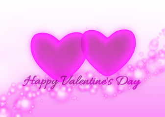 Pink hearts and text Happy Valentine's Day