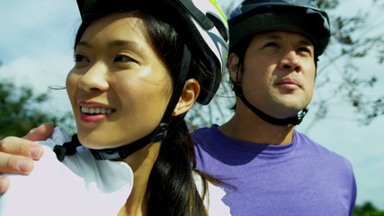 Close Up Healthy Lifestyle Cycling Young Ethnic Couple