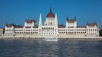 Parliament Building on Danube river with boat in Budapest