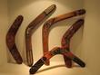 Leinwanddruck Bild - Aboriginal  art  Boomerang display on wall