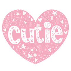 cutie heart shaped lettering design