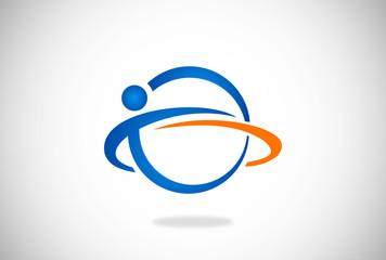 people in circle globe orbit vector logo
