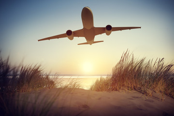 Airplane Take off Travel Destination Outdoors Concept