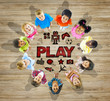 Multiethnic Group of Children with Play Togetherness Concept