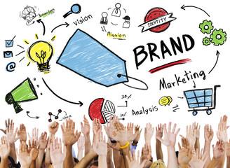Diversity People Hand Raised Marketing Brand Concept