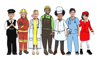 Group of Children Standing with Variation Uniform Concept