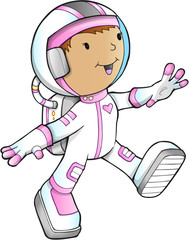 Cute Girl Astronaut Vector Illustration Art