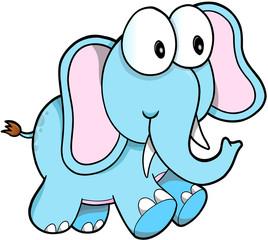 Cute Safari Elephant Vector Illustration Art