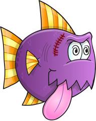 Purple Crazy Fish Vector Illustration Art