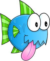 Happy Blue Fish Vector Illustration Art