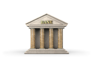 Bank with coins as pillars