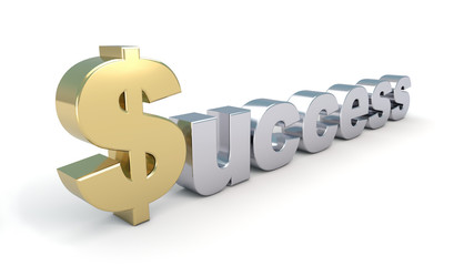 Success text in gold/silver
