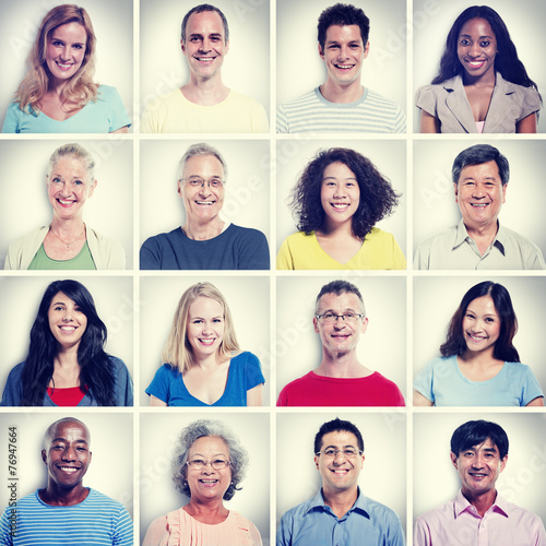 canvas print picture Protrait of Group Diversity People Community Happiness Concept