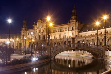 night view of Plaza de Espana with bridges