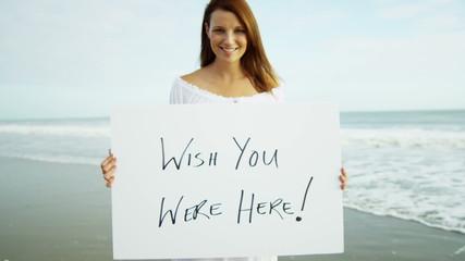Portrait Beautiful Caucasian Girl Advertising Summer Beach Lifestyle