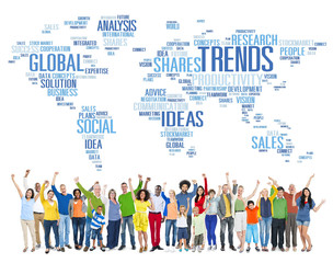 Trends World Map Marketing Ideas Social Style Concept