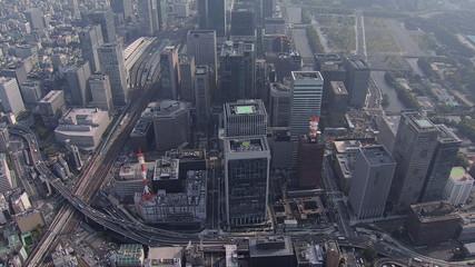 Aerial Tokyo city Rail Station Expressway traffic office Japan