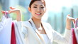 Female Young Asian Japanese Shopping Bags Symbol Business Tourism Economy
