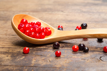 viburnum and black currant on wooden spoon