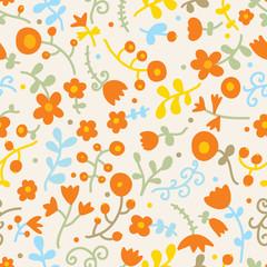 Flower motifs. Vector seamless pattern.