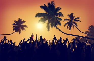 Adolescence Summer Beach Party Outdoors Community Estatic Concep